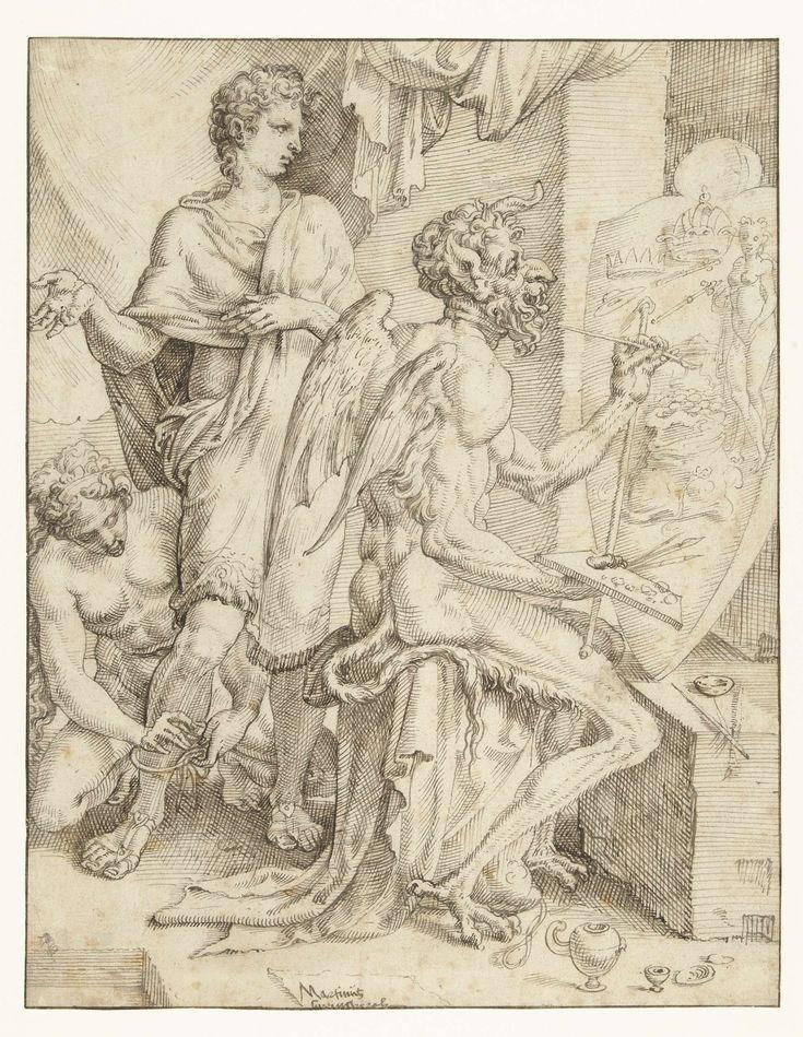 Maarten van Heemskerck | De duivel vervult het menselijke hart met begeerte naar rijkdom, macht en genot, Maarten van Heemskerck, 1548 - 1550 | De duivel beschilderd een schild in de vorm van een hart met objecten welke mensen begeren: kronen, scepters, geld en vrouwen. Een jonge man staat achter hem het schilderij te bewonderen terwijl ongemerkt een vrouw (Voluptas) boeien om zijn voeten doet. Ontwerp voor een prent.