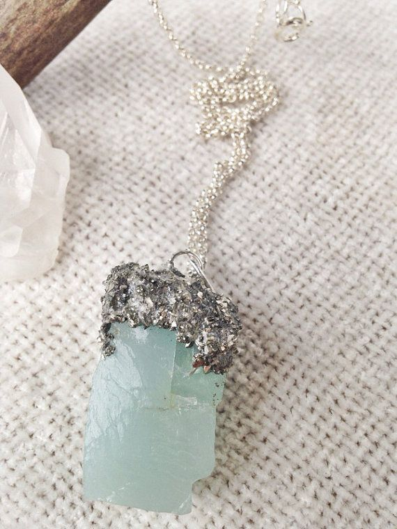 Pyrite Encrusted Aquamarine Necklace - Raw Crystal Jewelry - Gaudy In The Raw - Aquamarine Jewelry on Etsy, $25.00