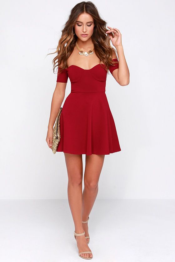 Celebrate Good Times Off-the-Shoulder Wine Red Dress at Lulus.com!