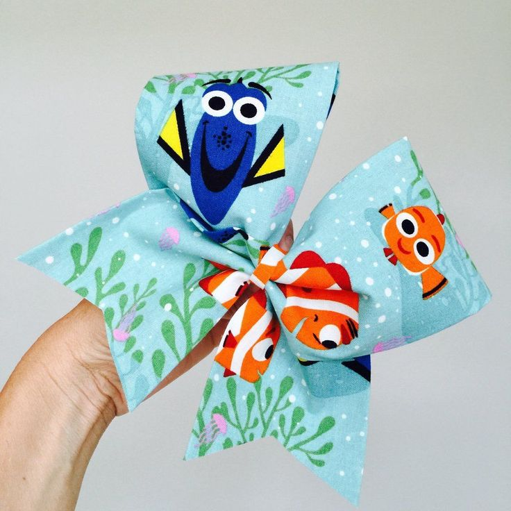 Big Fabric Dory NEMO Cheer Bow FREE SHIPPING! Ponytail holder attached!