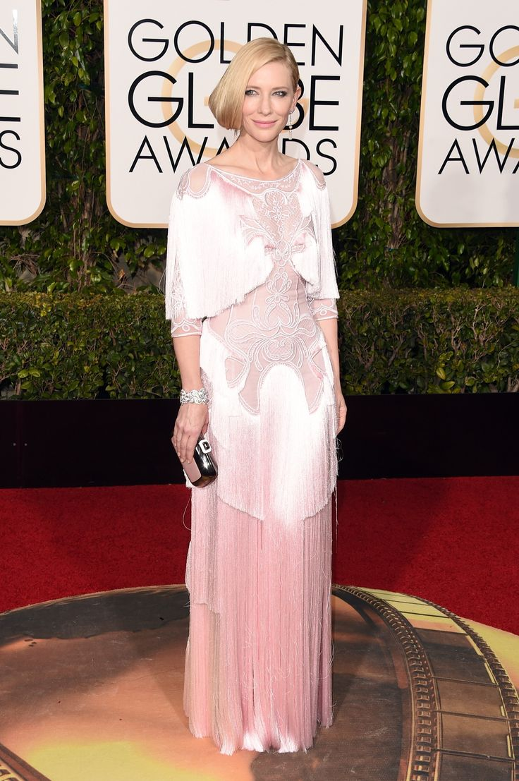 Cate Blanchett in a Givenchy Haute Couture dress, Tiffany & Co. jewelry, and Roger Vivier bag #goldenglobes2016