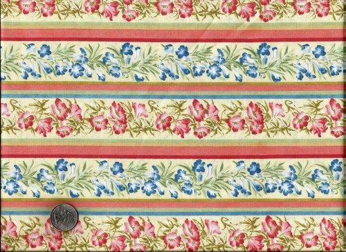 1 Yard Quilt Fabric Rhapsody In Bloom Floral Stripe Multi Cream Fabric