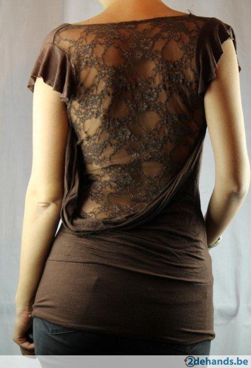 Bruin tshirt met kanten rug - Maat medium