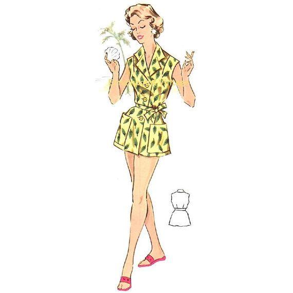 Plus Size (or any size) Vintage 1950s Sun Dress / Beach Dress Pattern - PDF - Pattern No 127 Beth