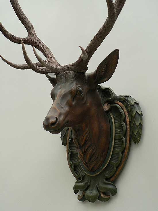 Wall Decorations Antique Black Forest Carved Wood Deer Head