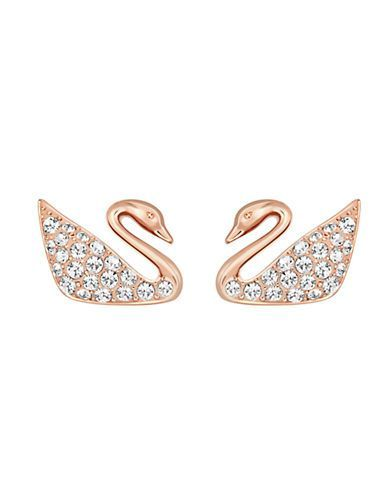 Swarovski Swan Crystal Stud Earrings Women's Rose Gold