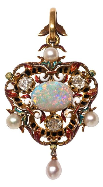 19th Century Opal Diamond and Pearl Pendant with Enamel Accents. Beautiful 19th century pendant set with a fine opal weighing 5.05 carats, mounted in 18 karat yellow gold, and embellished with multicolored enamel. The opal displays an exceptionally strong play of color. Surrounding the opal are three old mine cut diamonds weighting approximately 1 carat total, average color: JK clarity: SI. The pendant contains 4 lustrous pearls measuring about 5.5mm each
