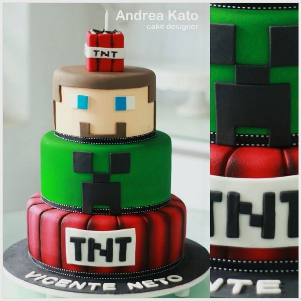 "Andrea Kato Cake Designer on Instagram: ""Minecraft! #minecraft #bolominecraft #festaminecraft #minecraftparty #minecraftcake"""