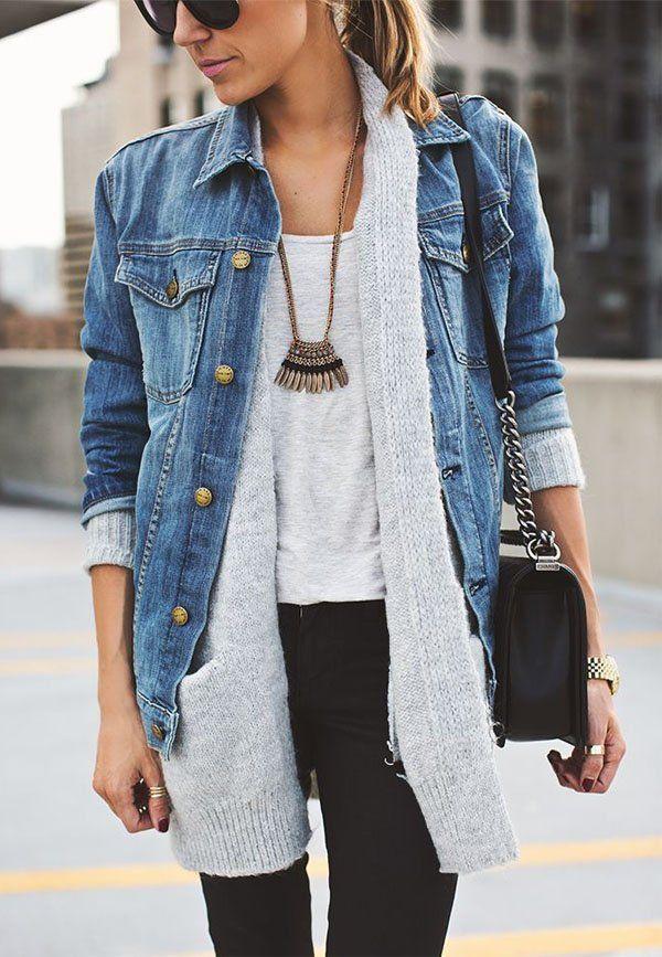 Street Style | Cardigan e jaqueta jeans