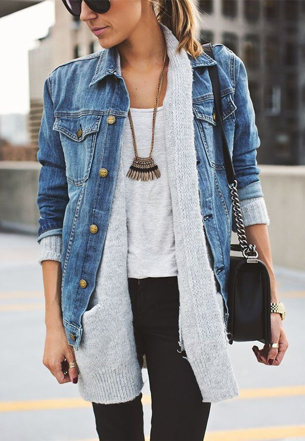 Jean layered with longer sweater is a dope way to mix it up and use an oversized jean jacket to your advantage
