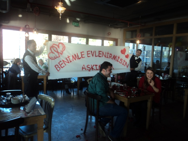 """A Marriage Proposal in Our Restaurant.  It is written as """" Will You Marry Me My Love"""""""