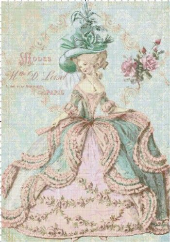 Marie Antoinette at the Paris Opera Cross Stitch Pattern