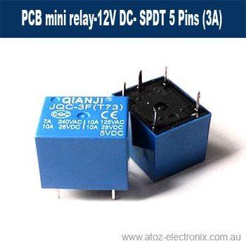 PCB mini relay-12V DC- SPDT 5 Pins (3A)