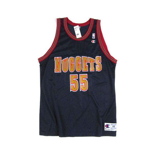 Vintage Dikembe Mutombo Denver Nuggets Champion Jersey ($95) ❤ liked on Polyvore featuring vintage jerseys, denver nuggets jerseys and champion jersey