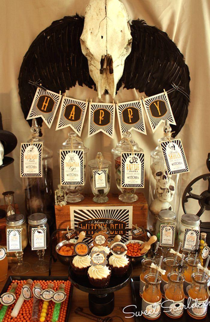 Sweet Table from a Witch's Den Halloween Party via Kara's Party Ideas | KarasPartyIdeas.com (10)