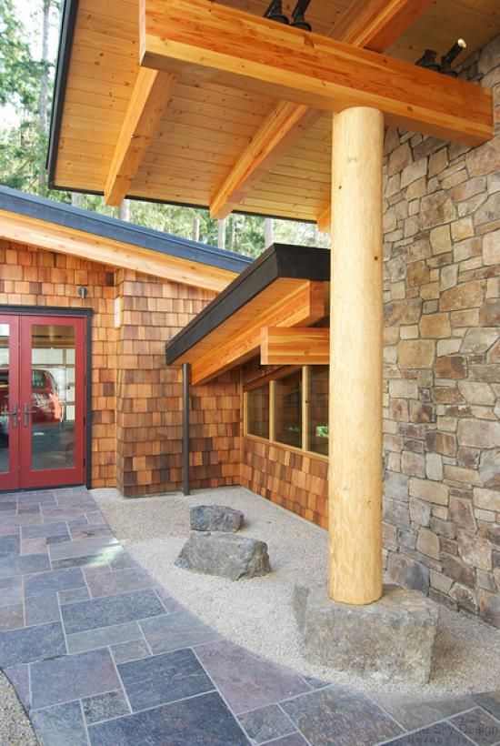 Western Red Cedar Shingles add a warm touch to this home's entryway
