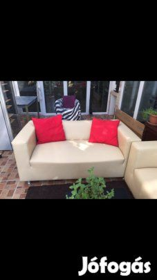 Eladó Ülőgarnitúra 3 rész: 3 részből álló, textilbőr ülőgarnitúra