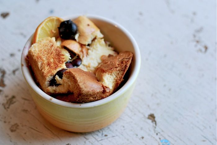 meyer lemon bread pudding with blueberries