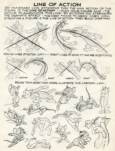 """""""Line of Action"""" directions for Hanna Barbera animators."""