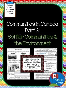 Communities in Canada Part 2 - Ontario Social Studies Grade 6  Focus:  Settler Communities and the Environment