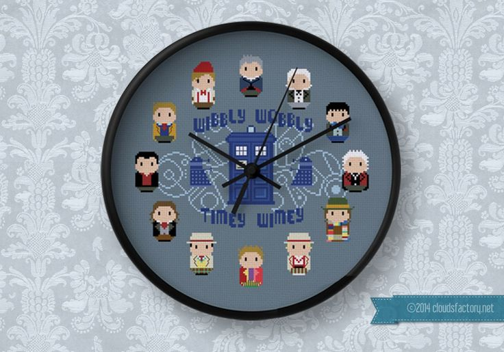 Doctor Who - 12 Doctors Clock pattern available at Cloudsfactory