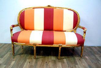 Antique Orange Stripe Gilted Couch