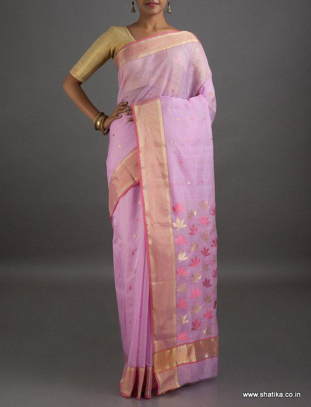 Navya Fresh Pink Mercerized #ChanderiSilkCottonSaree