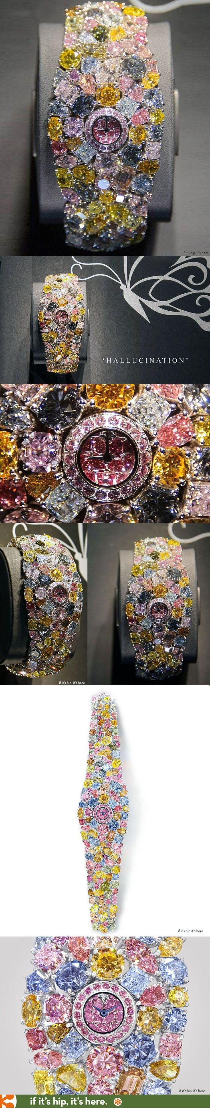 The world's most expensive watch- The Graff Hallucination made of 110 carats of colored diamonds is valued at $55 million. LadyLuxuryDesigns