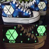 EXO Kpop XOXO hand print fluorescence Night light board Shoes Christmas shoes EXO logo all 12 stars send with 2 EXO poster for free gift (D.O, US 7.5)