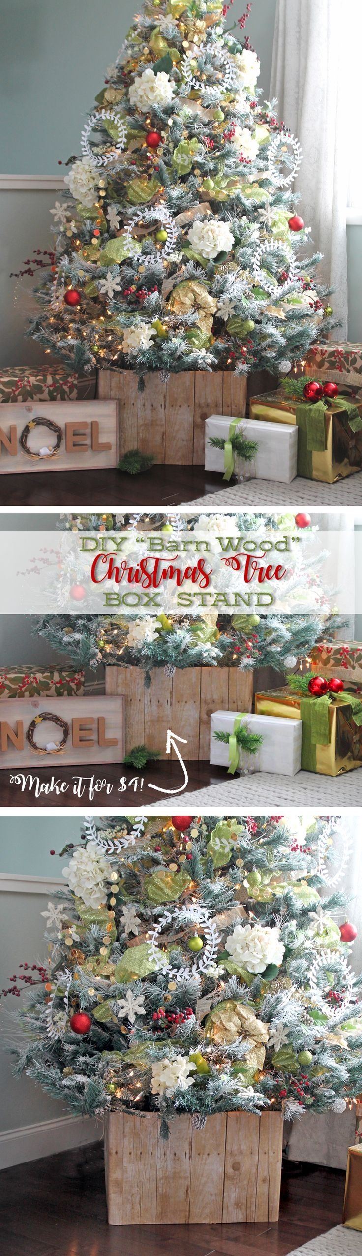 No way! This wooden Christmas tree box is actually NOT made of wood! It took about an hour to make and only cost $4. MIND. BLOWN. Such a cool Christmas decorating hack.