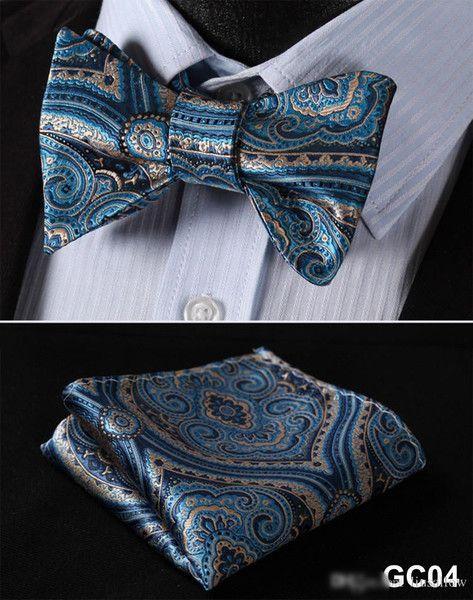 Blue Men Butterfly Self Tie Bow Tie Pocket Square Suit Set
