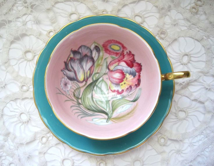 Stunning Susie Cooper Pink Teacup and Saucer Set on Aqua with Tropical Flowers, Cottage 1960s England Bone China Teacup Set, Vintage Tea Set by SharetheLoveVintage on Etsy https://www.etsy.com/au/listing/290201661/stunning-susie-cooper-pink-teacup-and