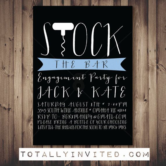 Stock the bar invitation engagement party printable for Housewarming shower ideas