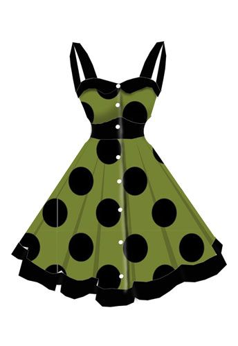 rockabilly Black and Green dress