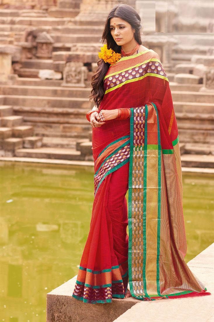 Online Shopping of Red Printed Party Wear Cotton Saree-Nandika from SareesBazaar, leading online ethnic clothing store  offering  latest collection of sarees, salwar suits, lehengas & kurtis