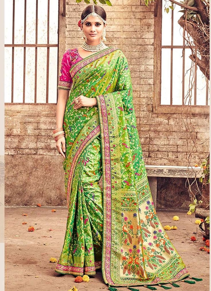 Green Banarasi Silk #WeddingSarees With Embroidered,Print,Lace Works. Order Wedding Sarees Online @chennaistore.com