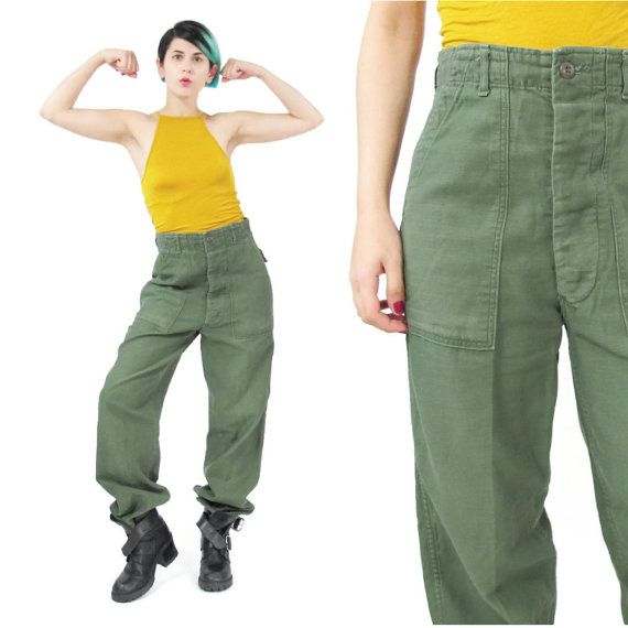1970s Vintage Army Pants Utility Cargo Pants by honeymoonmuse