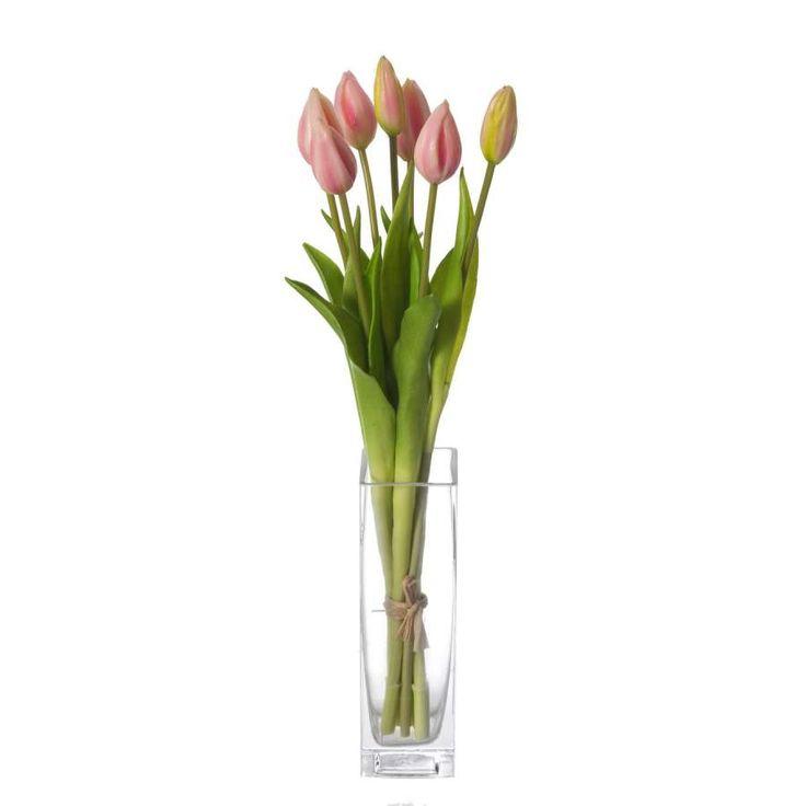 Ramos flores artificiales online. Ramo flores artificiales atado con siete tulipanes rosa. Silvestre y natural .Tallos alambrados. Indicado para jarrones. Alto 43 cm