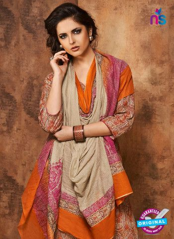 Rivaa 206B - Beige & Orange Color Cotton Designer Suit