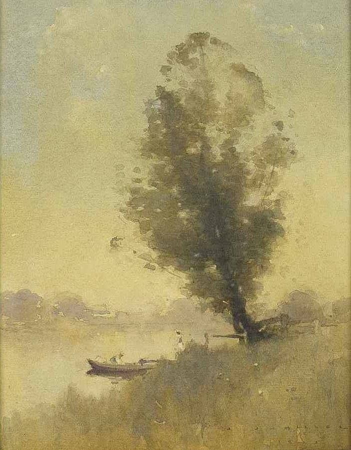 Jesse Jewhurst Hilder (1881 — 1916, Australia) Grey Gold, Dora Creek. watercolour on paper. 24.5 x 19.5 cm.