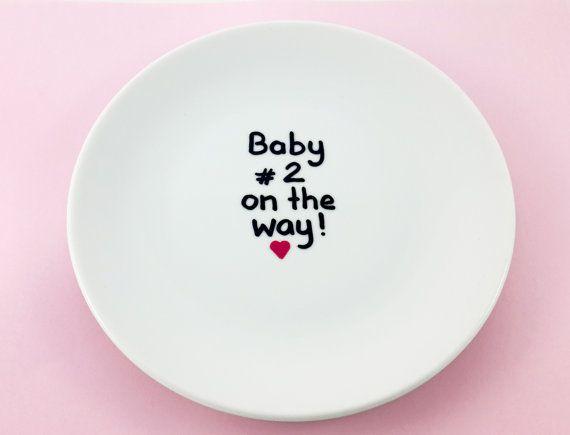 Aankondiging van de zwangerschap tweede baby van Gliadesign op Etsy
