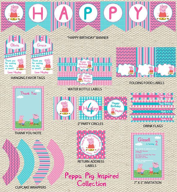 Peppa Pig Birthday Collection Printable via Etsy