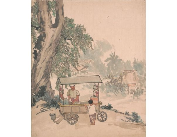 Ice Kachang Vendor; Artist: Chen Chong Swee; Year: Undated; Country: Singapore; Medium: chinese ink and colour on paper; Dimensions: 51 x 53 cm