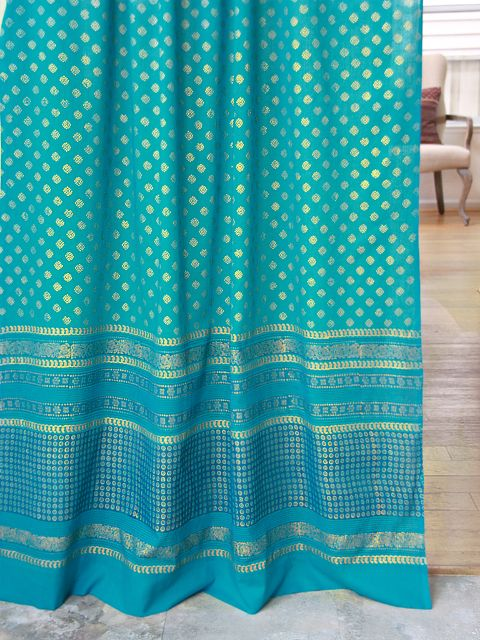 Jeweled Peacock ~Turquoise Blue and Gold Colored Sheer Curtain via Saffron Marigold onto Dreams of India