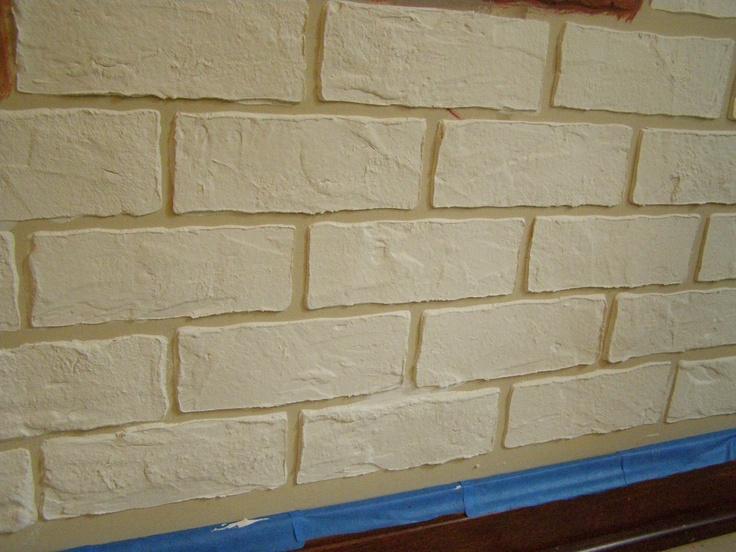 Made Brick Stencil Then Covered With Joint Compound Once