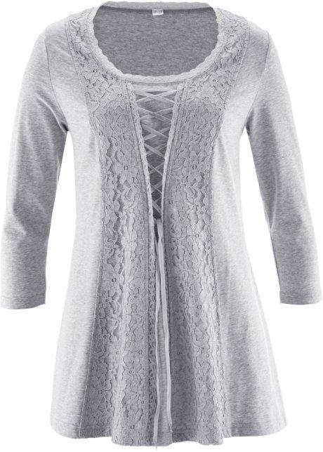 Кружевная футболка на шнуровке, bpc selection premium, светло-серый меланж