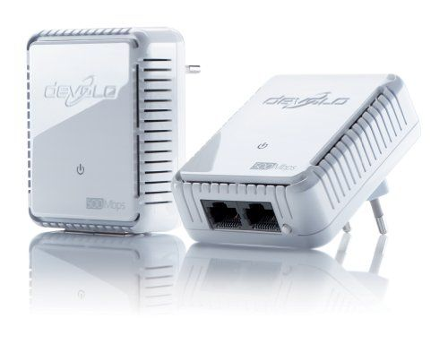 devolo dLAN 500 duo Starter Kit Powerline (500 Mbit/s Internet �ber die Steckdose, 2x LAN Ports, 2x Powelan Adapter, PLC Netzwerkadapter) wei�