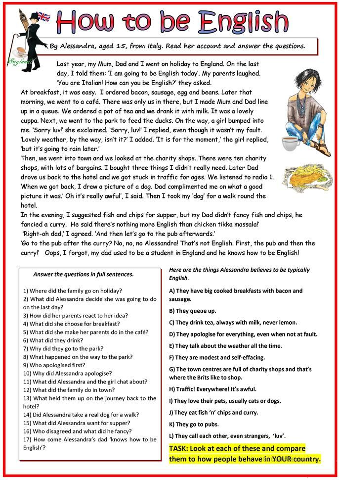 How To Be English Worksheet - Free ESL Printable Worksheets Made By …  Reading Comprehension Worksheets, English Worksheets For Kids, Reading  Comprehension Lessons