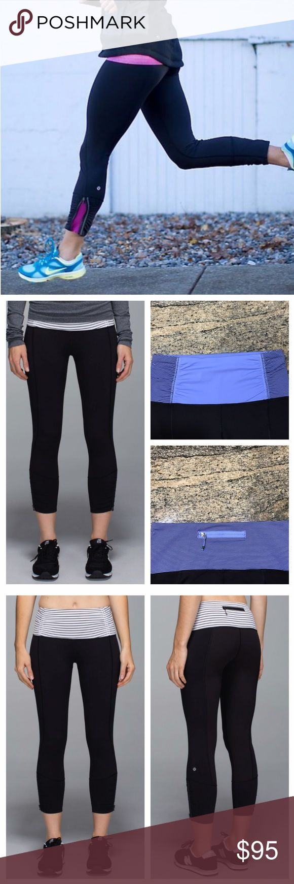 Lululemon {Rare} Runday Crop Parallel Stripe Lilac In black/parallel stripe lilac/black. This is the only pair in this exact same color for sale online. Keep calm &run on in these run crops with zippers. Four way stretch, power luxtreme, moisture wicking &breathable. Reflective details for visibility. Medium rise.Perfect condition, worn once, NO Flaws. Stock pics are exact same style except mine the waistband is lilac with  blk parallel stripes. Refer to pics. All reasonable offers are…