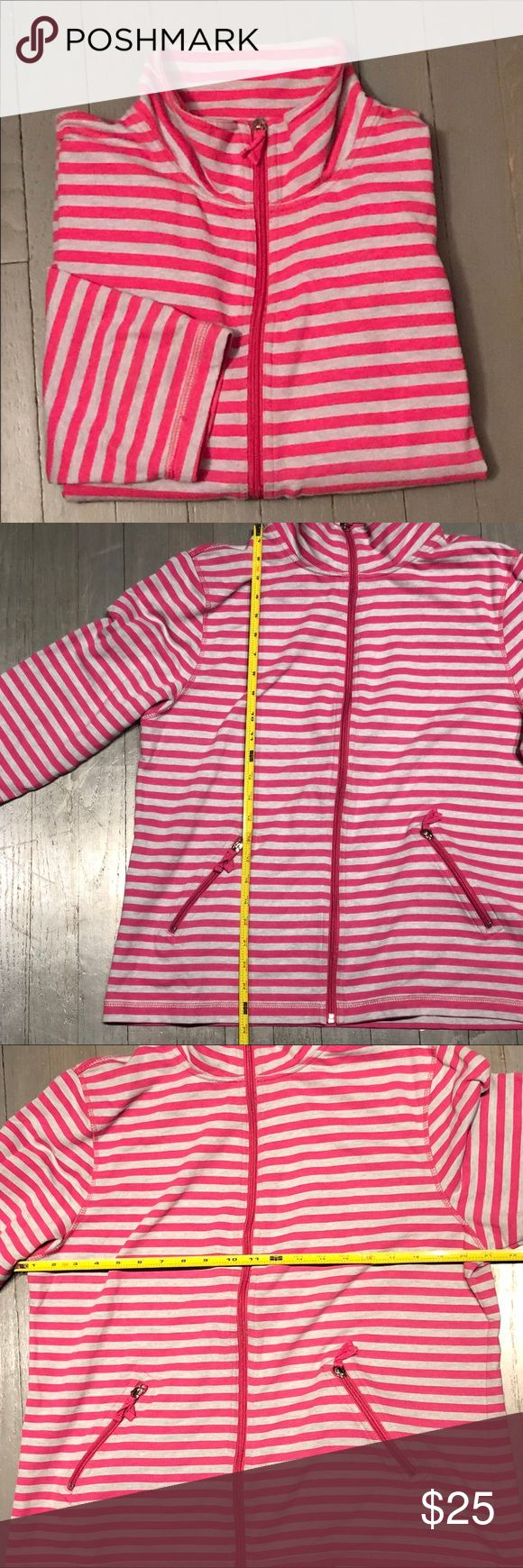 Good Fortune Stripe Zip 3/4 Sleeve Pullover Good Fortune Pink and Gray Horizontal Striped Full Zip Pullover. Two side zip pockets. 3/4 sleeves. Two Slant Zip Front Pockets. Measurements in pictures. 60% Cotton 40% Polyester Made in Vietnam RN 122942 Valentines Day Perfect Good Fortune Tops Sweatshirts & Hoodies